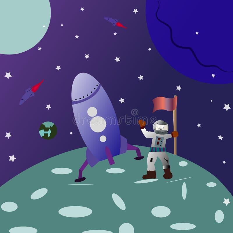 N?chtlicher Himmel mit vielen Sternen Landung auf dem Mond Karikaturastronaut mit einer Flagge in seiner Hand stock abbildung