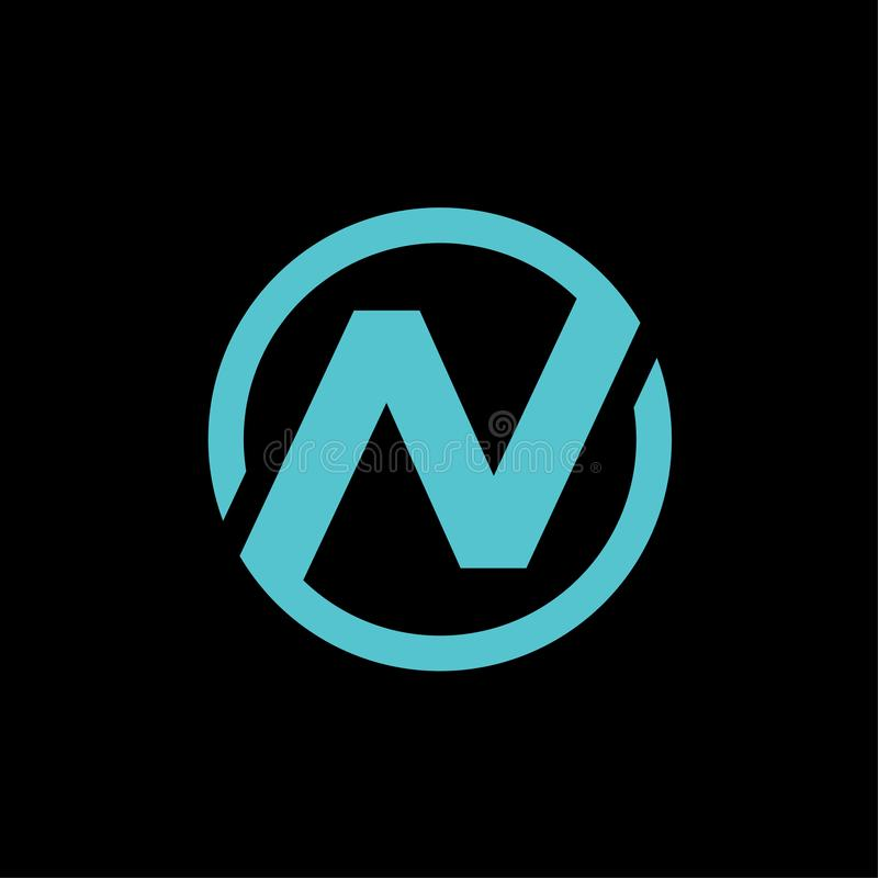 N circle letter initial logo icon design vector illustration stock illustration