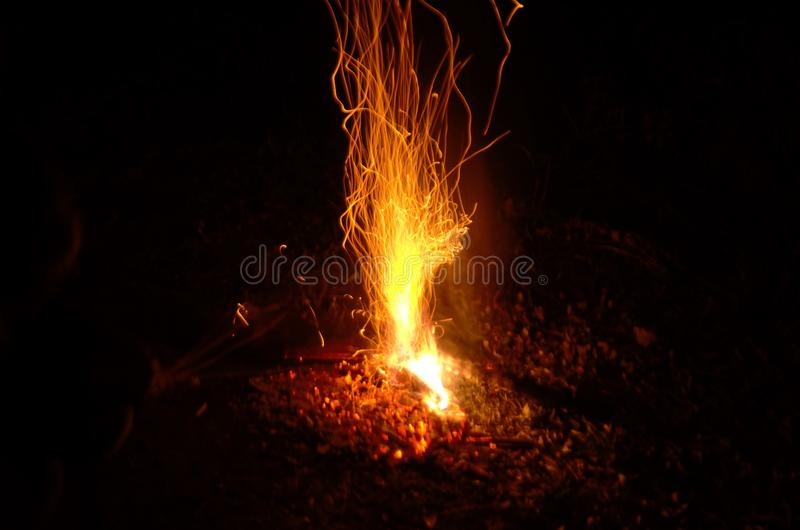 Flying sparks from a fire royalty free stock image
