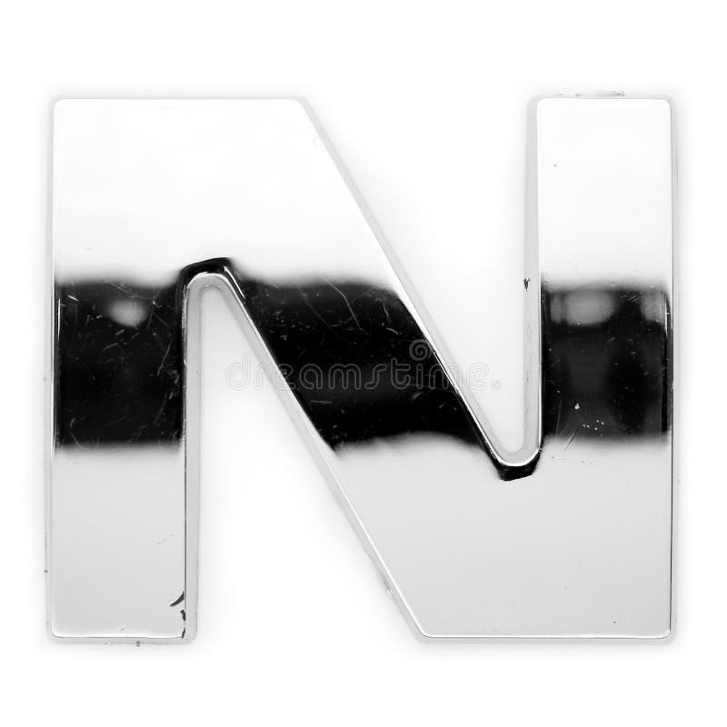 N - de brief van het Metaal royalty-vrije stock afbeelding