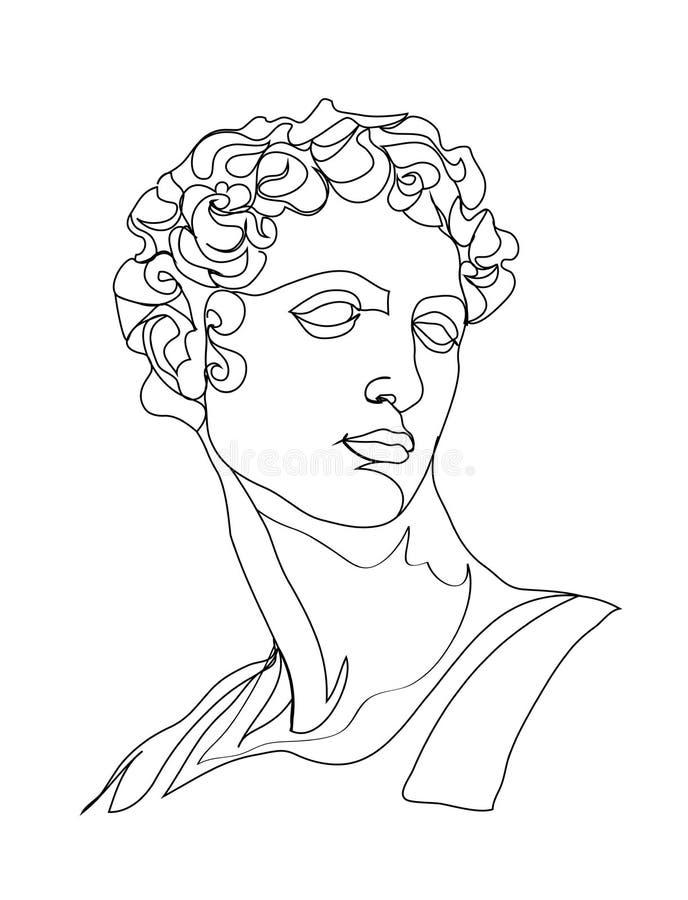 ??n de schetsbeeldhouwwerk van de lijntekening Moderne enige lijnkunst, esthetische contour Perfectioneer voor decor zoals affich vector illustratie