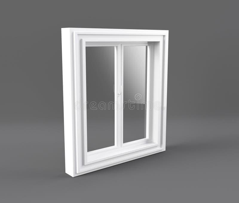 ??n deur plastic die venster op wit wordt ge?soleerd 3D Illustratie stock illustratie