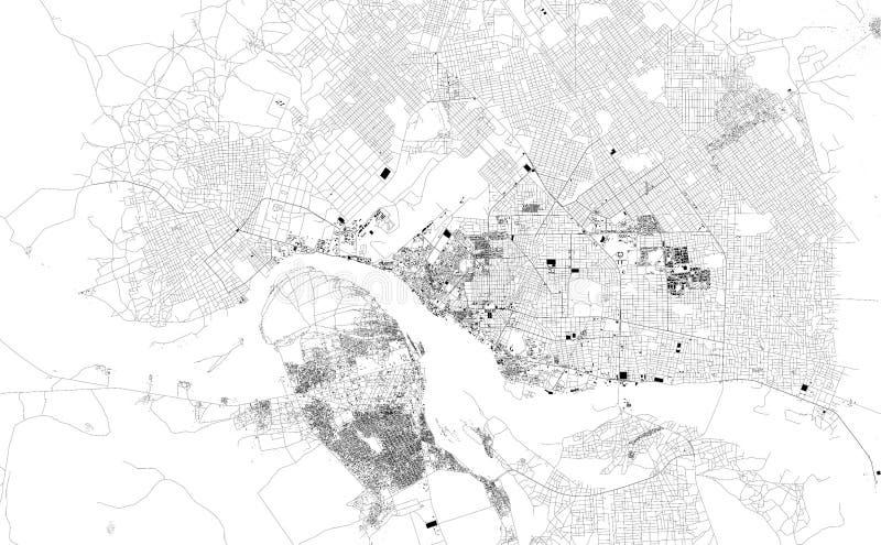 N ` Djamena,乍得,城市街道卫星地图  向量例证