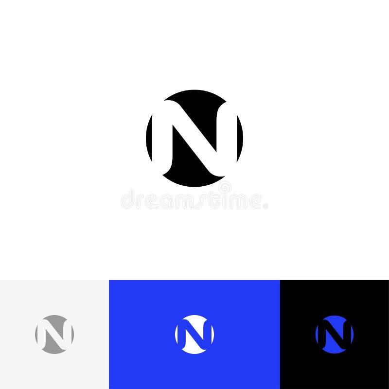 N en vector del círculo Logotipo del minimalismo, icono, símbolo, muestra de las letras n imágenes de archivo libres de regalías
