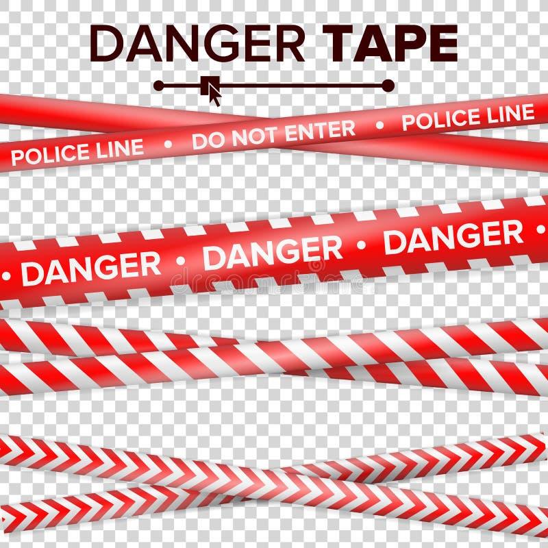 N'entrez pas, danger Quarantaine de sécurité bandes rouges et de blanc sur le fond transparent Illustration de vecteur illustration de vecteur