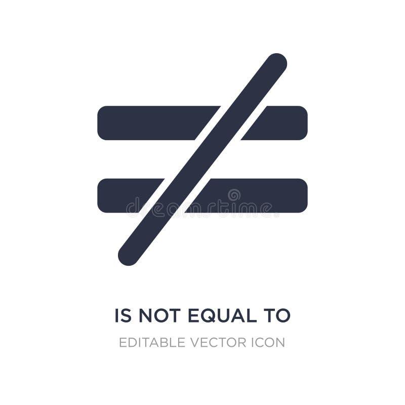 n'est pas égal à l'icône sur le fond blanc Illustration simple d'élément de concept de signes illustration de vecteur
