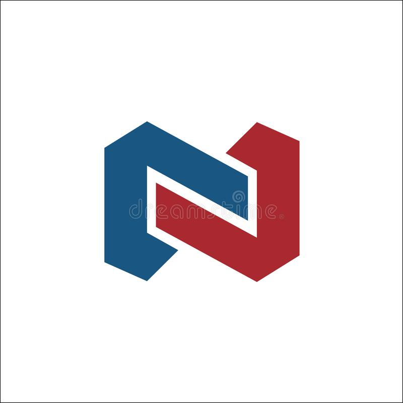 N initial logo vector abstract template royalty free illustration