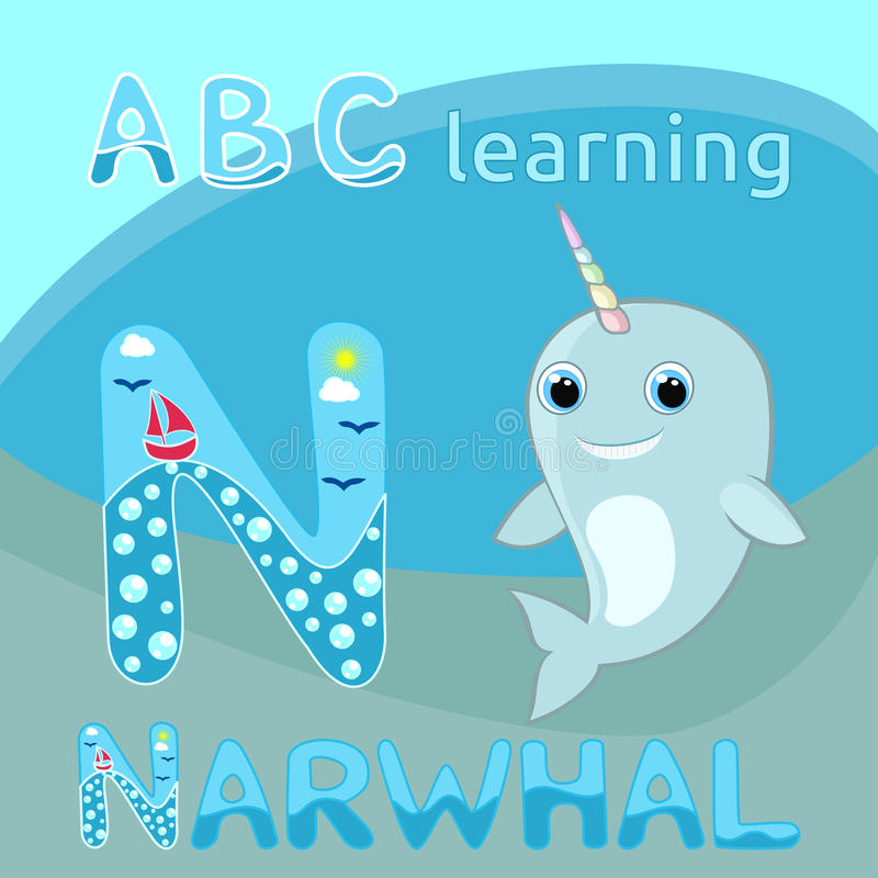 N letter ABC kids Baby narwhal w rainbow horn vector illustration Cute cartoon narwhal vector Sea mammal vector Sea life theme Hap stock illustration