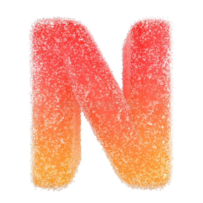 N - Letter of the alphabet made of candy stock photography