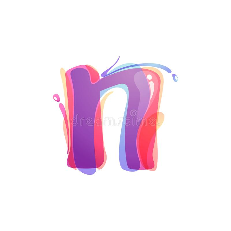 N letter logo formed by watercolor splashes. Color overlay style. Vector typeface for labels, headlines, posters, cards etc vector illustration