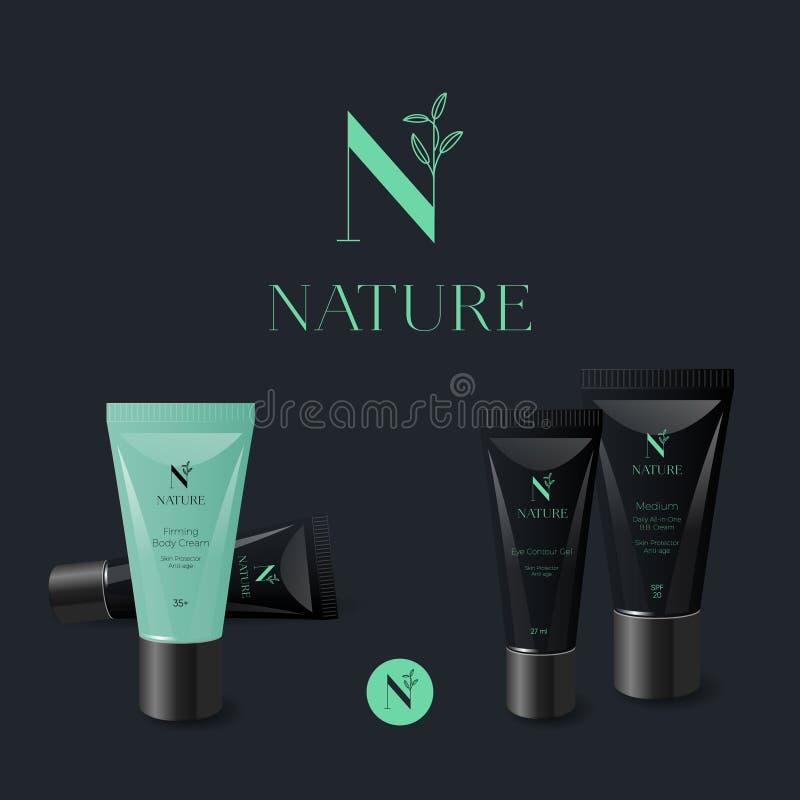 N letter. N monogram. Nature logo. Green letter with leaves on a dark background. Branded cream tubes. royalty free illustration
