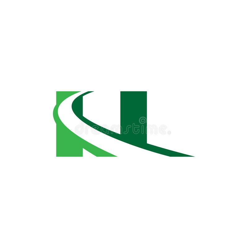 N letter road construction creative symbol layout. Paving logo design concept. Asphalt repair company sign idea royalty free illustration