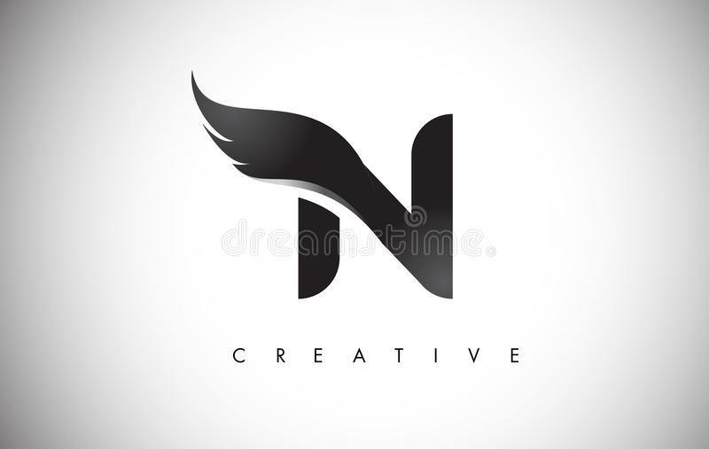 N Letter Wings Logo Design with Black Bird Fly Wing Icon. stock illustration