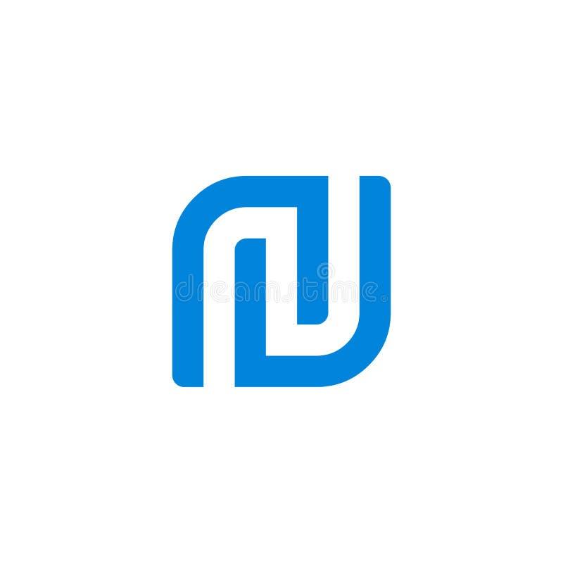 N listu inicjału kwadrata logo ilustracja wektor