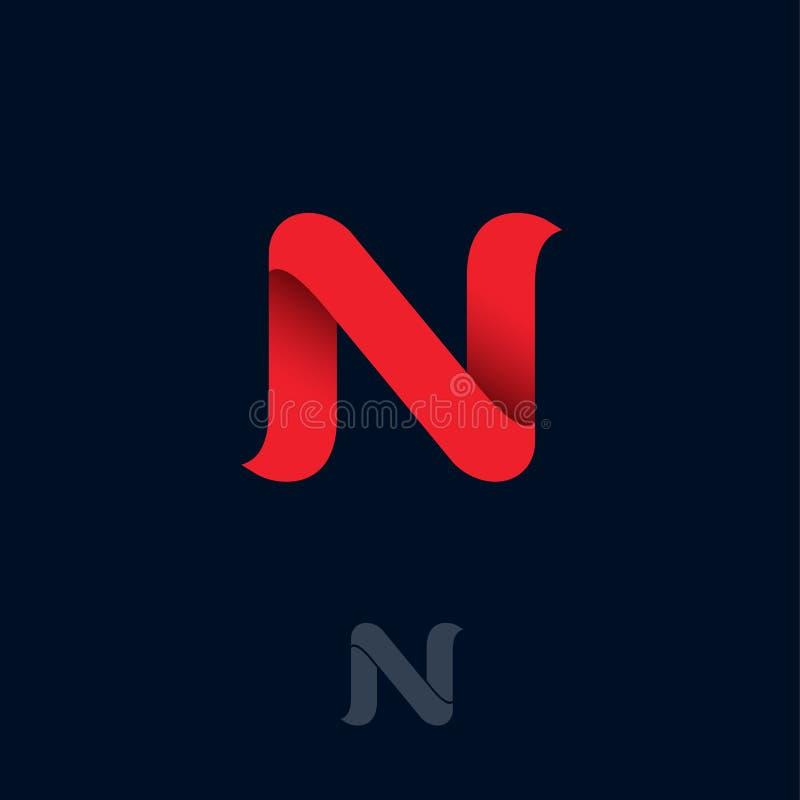 N-Logo bestehen aus rotem Band N-Origamimonogramm Netz, Netzikone lizenzfreie abbildung