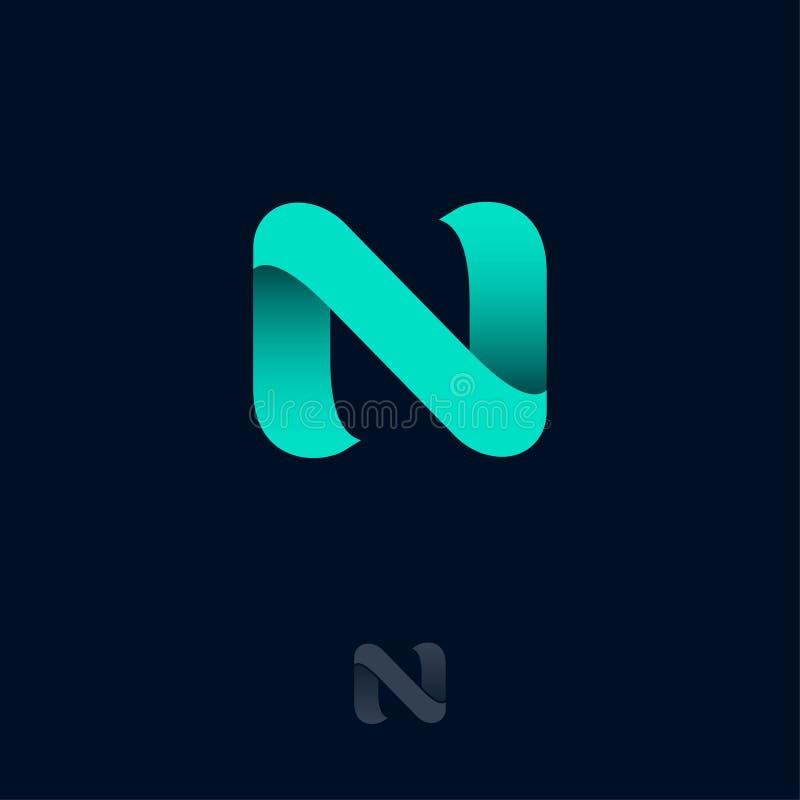 N Logo Consist de Azure Ribbon Monograma do orig?mi de N Rede, ?cone da Web ilustração do vetor