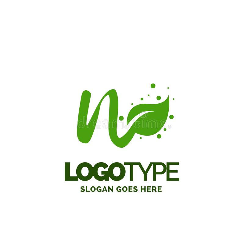 N logo with Leaf Element. Nature Leaf logo designs, Simple leaf. Logo symbol. Natural, eco food. Organic food badges in vector. Vector logos. Natural logos with stock illustration