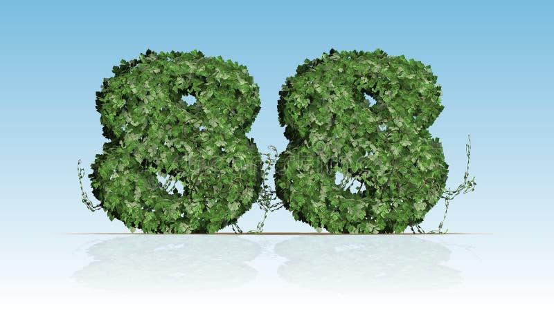N?mero 88 criado das folhas verdes da hera ilustração royalty free