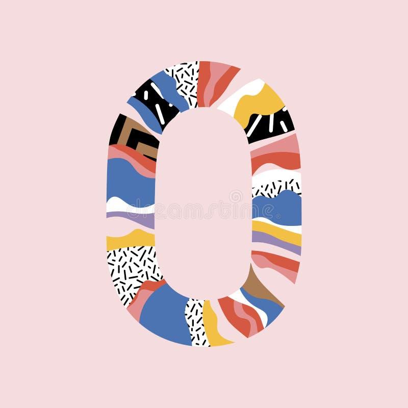 N?mero 0 Firma en la línea estilo plano N?meros capitales modernos lindos Línea plana de moda figuras del vector D?gito cero libre illustration