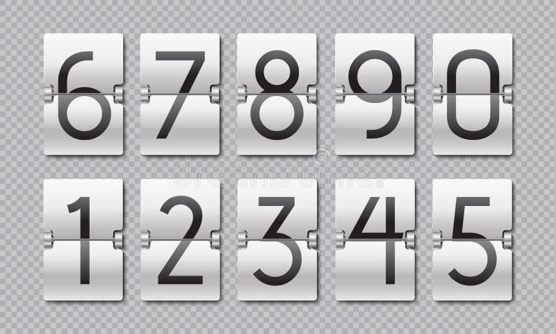 N?meros de la cuenta descendiente Contador de reloj del tir?n, elementos del tiempo para el marcador digital y contador de tiempo libre illustration
