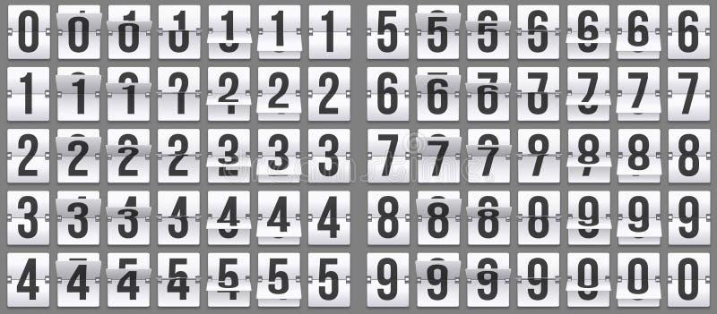 N?meros de pulso de disparo da aleta Animação retro da contagem regressiva, número mecânico do placar e grupo contrário numérico  ilustração do vetor