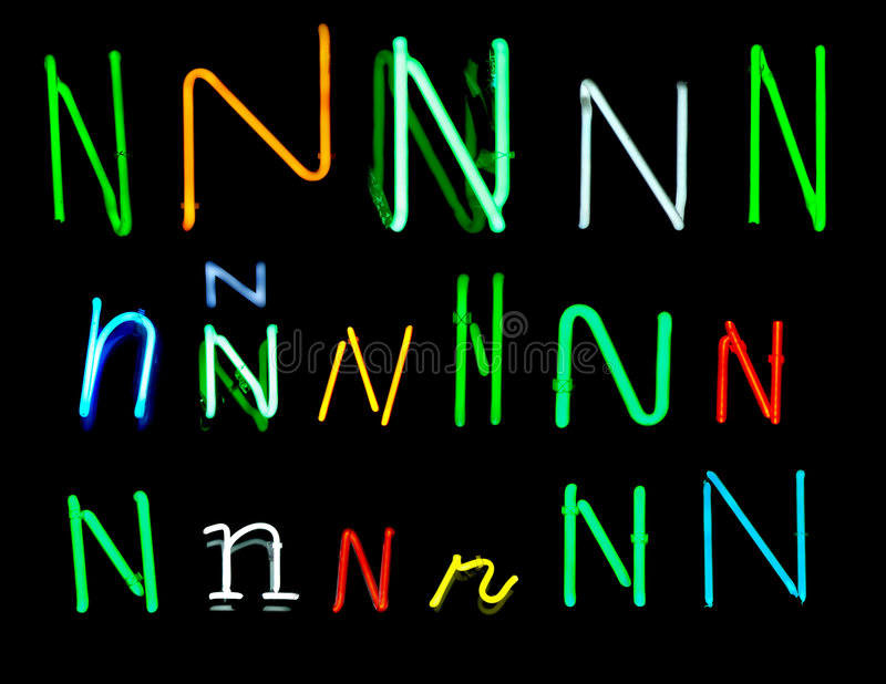N Neon Letters royalty free illustration