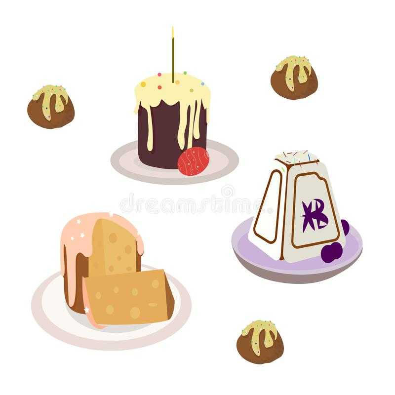 set of cakes and candles for Easter stock illustration