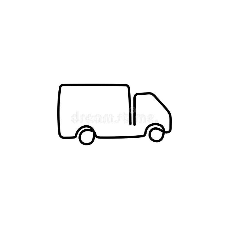 ??n ononderbroken getrokken enige van de de krabbeltekening van de kunstlijn de schetsvrachtwagen met Ladingsaanhangwagen het Dri stock illustratie