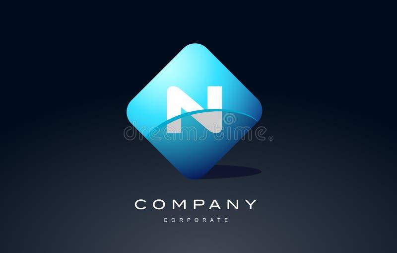 n ontwerp van het het embleem vectorpictogram van de alfabet het blauwe hexagon brief stock illustratie