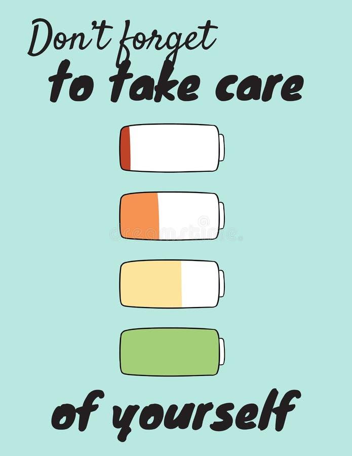 N'oubliez pas de prendre soin de vous-même Chargez votre batterie intérieure Carte postale mignonne de motivation de bande dessin illustration libre de droits