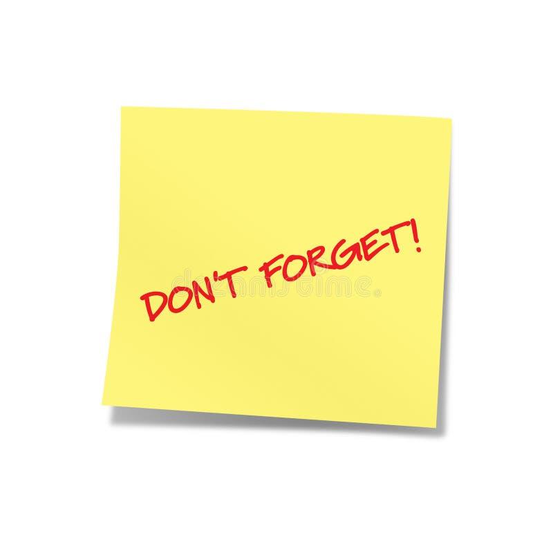 N'oubliez pas la note jaune 2 photos stock