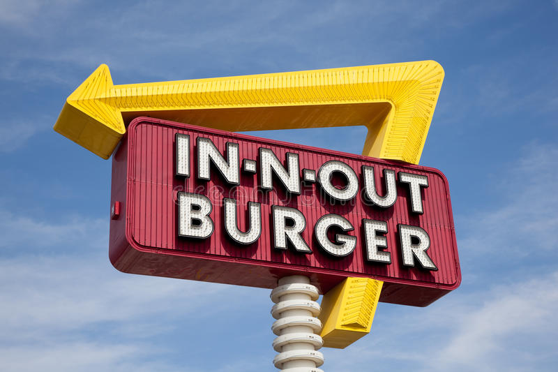 Download In-n-Out Burger Sign In Front Of Blue Sky Stock Photo - Image: 26366844