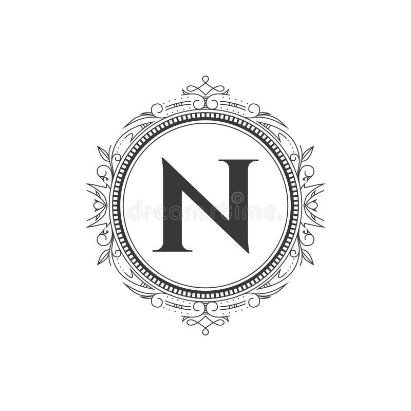 N parafuje monograma loga listowego szablon z luksusowym ornamentem fotografia stock
