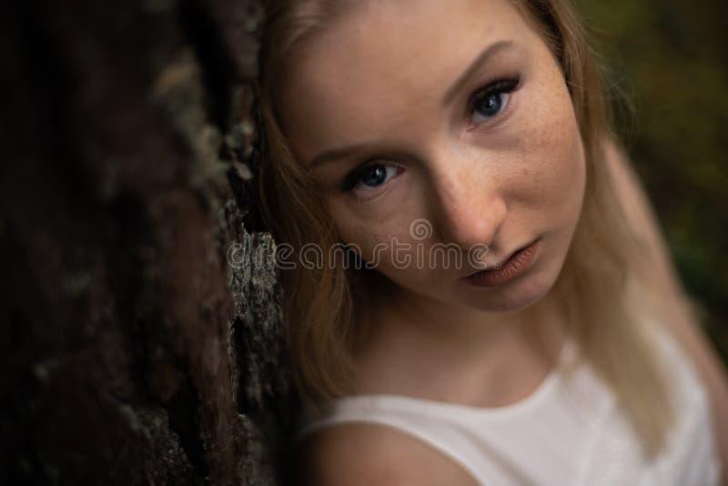 N?ra ?vre st?ende - h?rlig ung blond kvinnaskognymf i den vita kl?nningen i vintergr?nt tr? royaltyfri foto