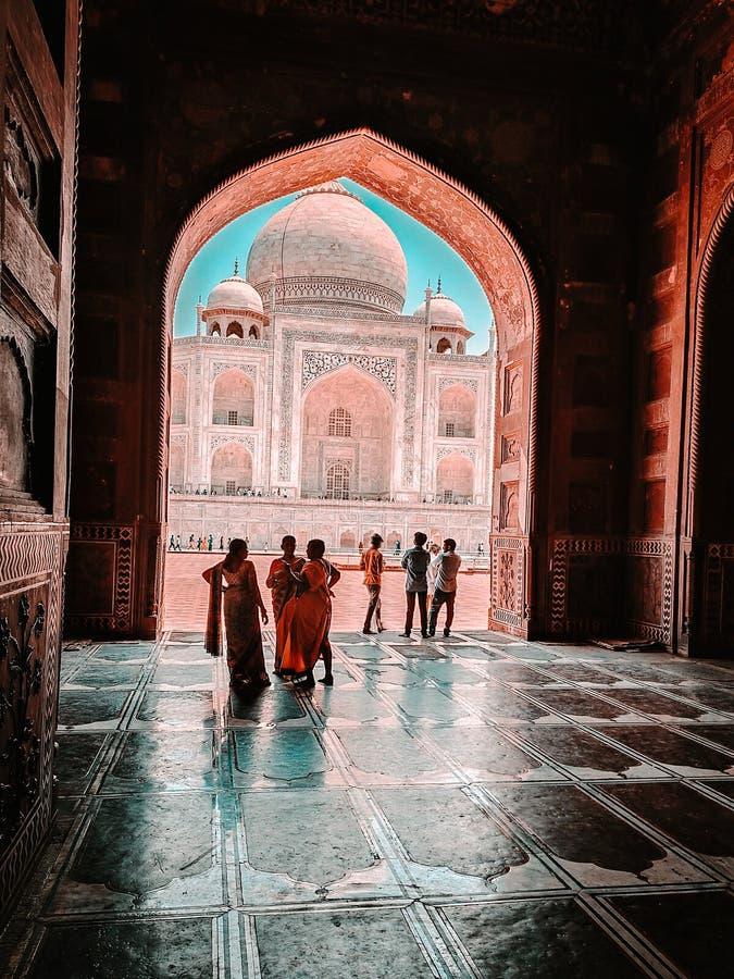 N?rbild av den Taj Mahal tapeten royaltyfria foton