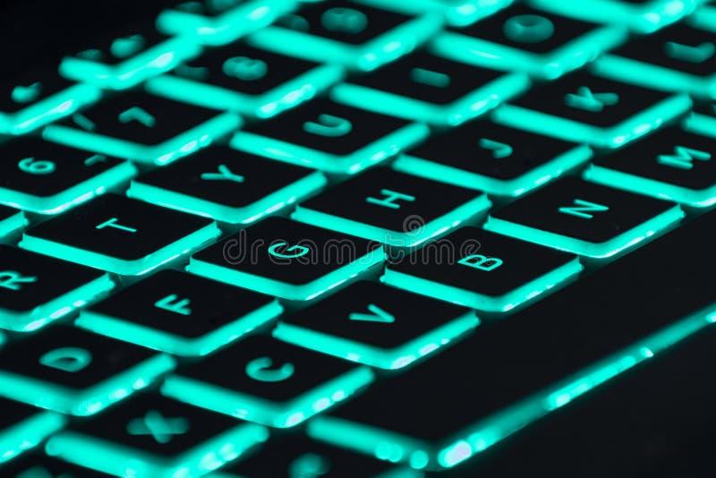 N?rbild av ett bakbelyst spela tangentbord fotografering för bildbyråer