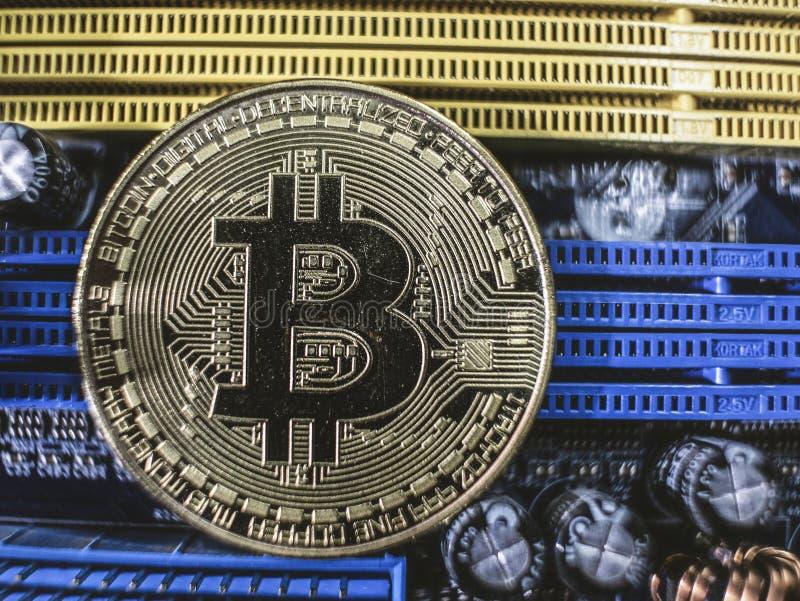 N?rbild av guldbitmyntet, datorstr?mkretsbr?de med bitcoinprocessorn och mikrochipers Elektronisk valuta, internetfinans royaltyfria foton