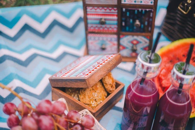 N?rbildpicknick i natur Kakor i en ask, druvor, vattenmelon och drinkar royaltyfri bild