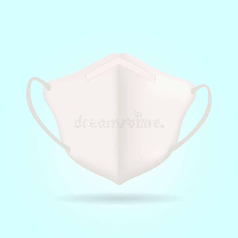 N95 Respiratory Biała maska izolowany wektor ilustracji
