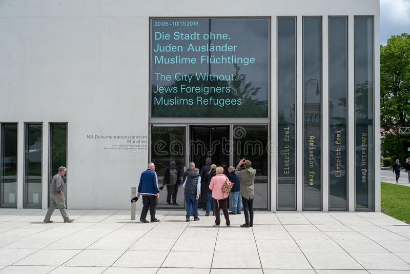 N-S documentation center Munchen. Munich, Bavaria, Germany - May 18, 2019. Tourists entering the N-S documentation center for the history of national socialism stock image