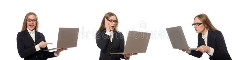 N?tt kontorsanst?lld med b?rbara datorn som isoleras p? vit royaltyfria foton