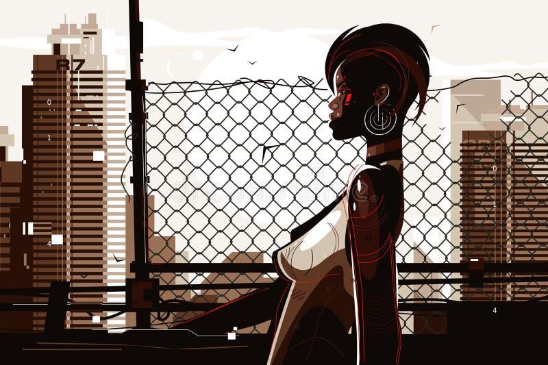 n?tt kvinna f?r afrikansk amerikan royaltyfri illustrationer