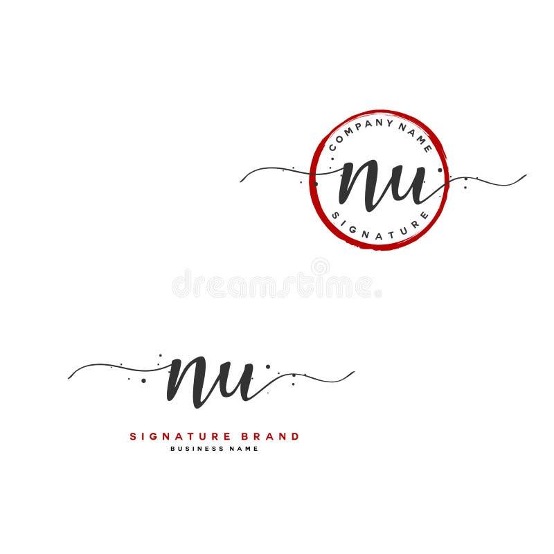 N U NU Erstmalige Briefhandschrift und Logo Ein Konzept-Handschrift Anfangslogo mit Vorlagenelement stock abbildung