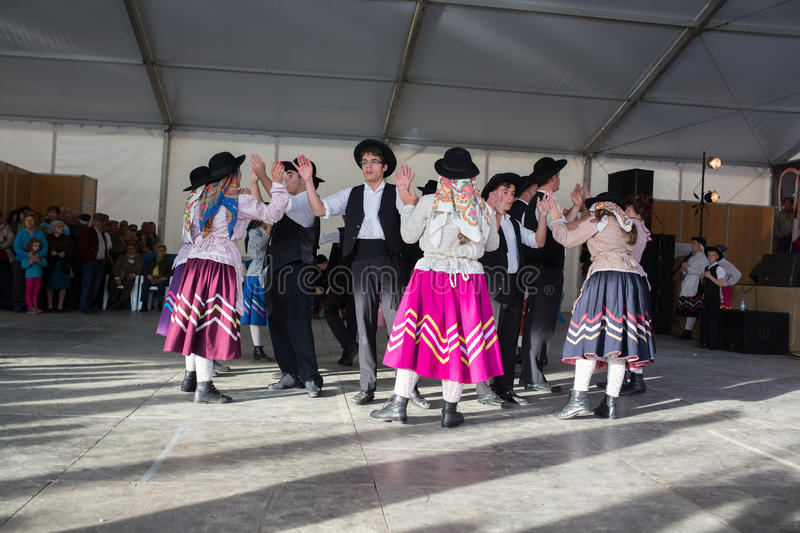 N unidentified people performs a Traditional Portuguese folkloric music. Portugal. Europe. An unidentified people performs a Traditional Portuguese folkloric stock photography