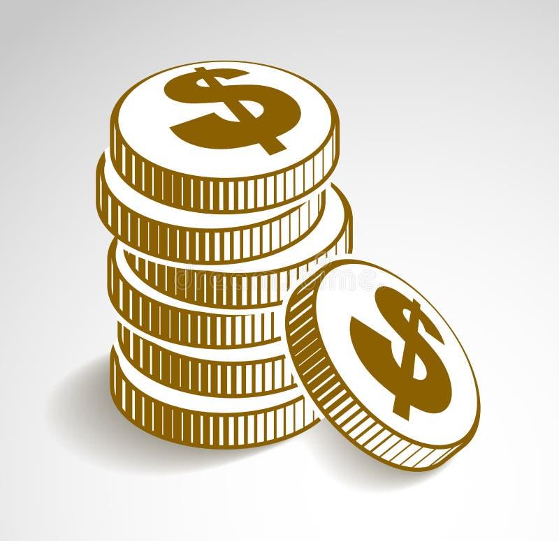 A?n-vida de los microprocesadores del dinero o del casino del efectivo de la pila de la moneda, icono del vector, ejemplo o logot ilustración del vector