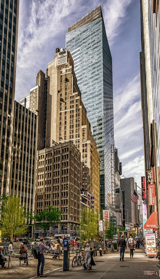 N.Y.C 7th Av & W 40St. Urban scene on the 7th Av & W 40St in may 2018 in Manhattan, New York City, U.S.A stock photos
