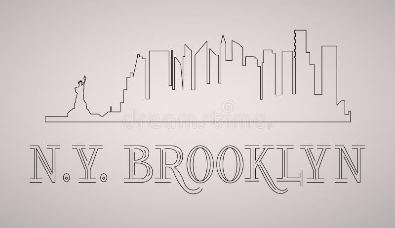 n Y Orizzonte di Brooklyn e siluetta dei punti di riferimento, progettazione in bianco e nero, illustrazione di stock