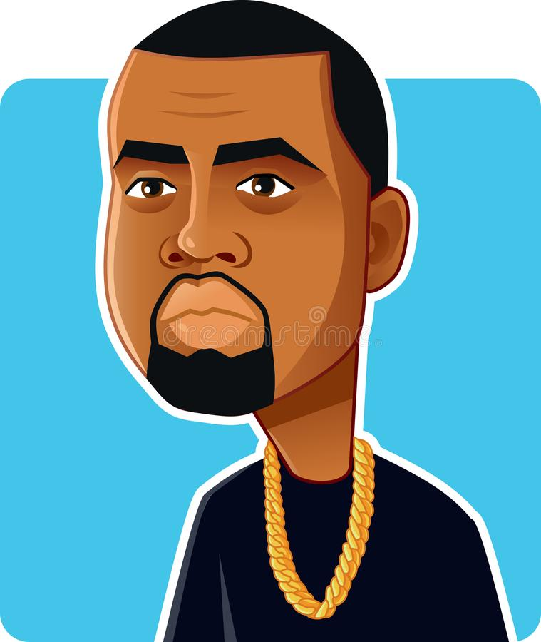 n Y , U S Czerwiec 6, 2018, Kanye West Wektorowa karykatura ilustracji