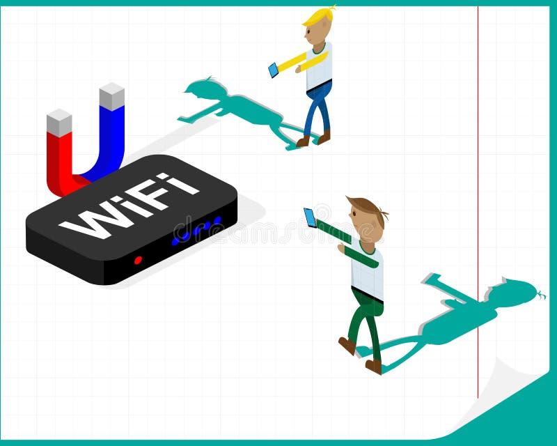 nałóg rysujący ręki ilustracyjny internetów wektoru biel Ludzie jak żywi trupy iść sygnał od Wifi routeru Vectrical ilustracja royalty ilustracja
