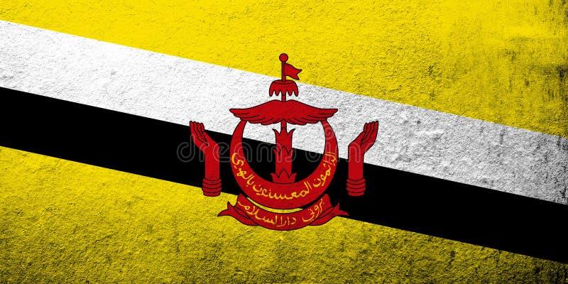 A nação de Brunei Darussalam, o domicílio da bandeira de nacional da paz Fundo do Grunge do fundo do Grunge ilustração do vetor